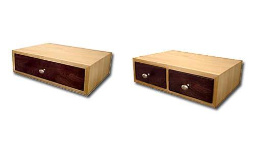 Contemporary floating bedside tables made of maple and walnut.