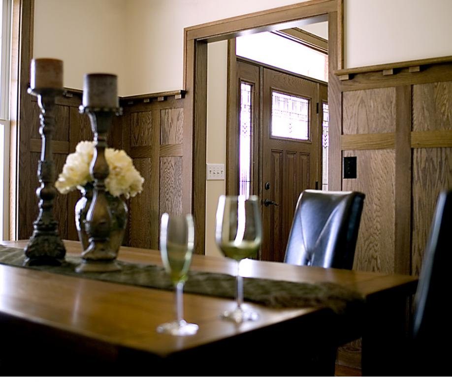 White oak craftsman style wainscoting in dining room