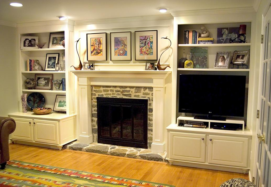 This is an entirely new wall design for bookcase display and TV incorporating a new mantel.