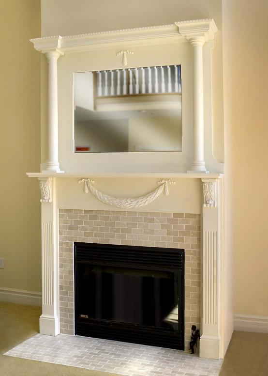 Victorian mantle, two levels, with beveled mirror above.