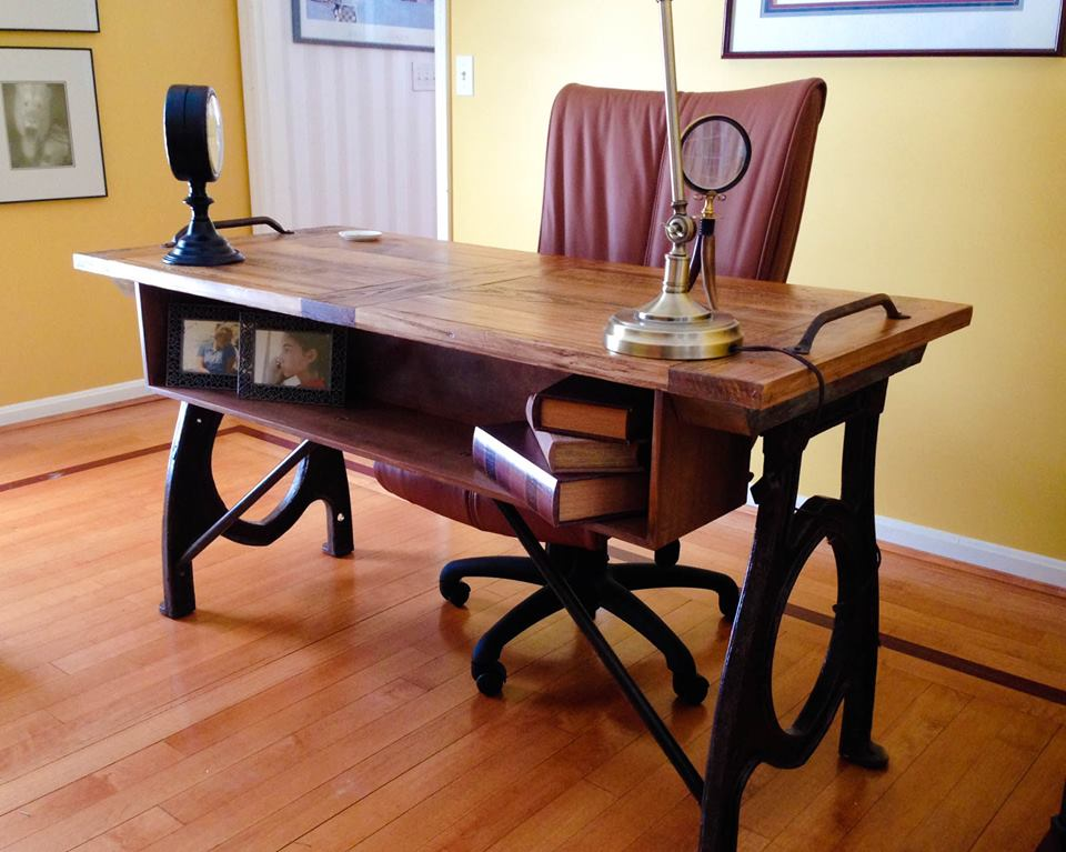 Custom desk made from reclaimed materials