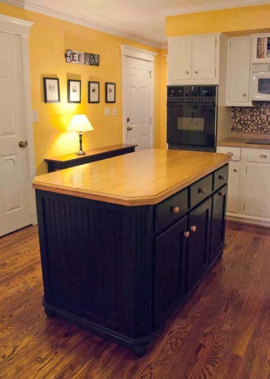 Kitchen island with solid maple top and black distressed base.