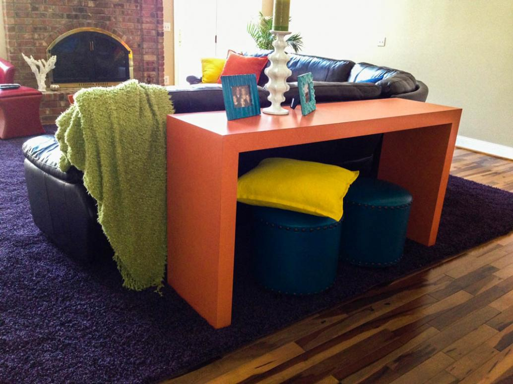 Custom contemporary laminate console table