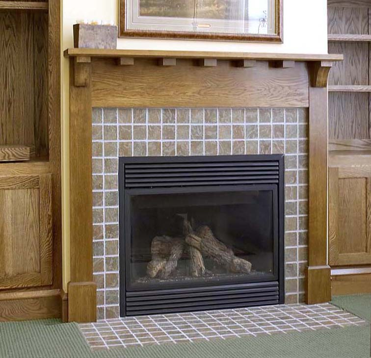 Craftsman style mantle made of white oak.