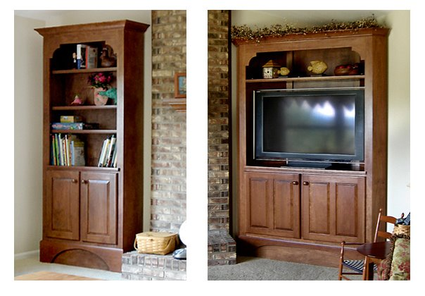 Cherry bookshelf with matching TV corner cabinet.