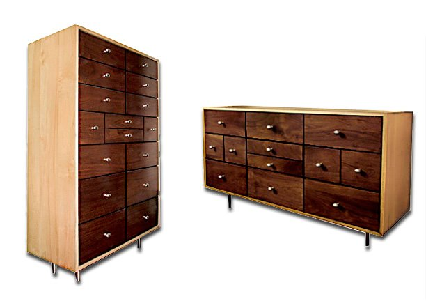 Contemporary tall dresser and wide dresser made of maple and walnut.